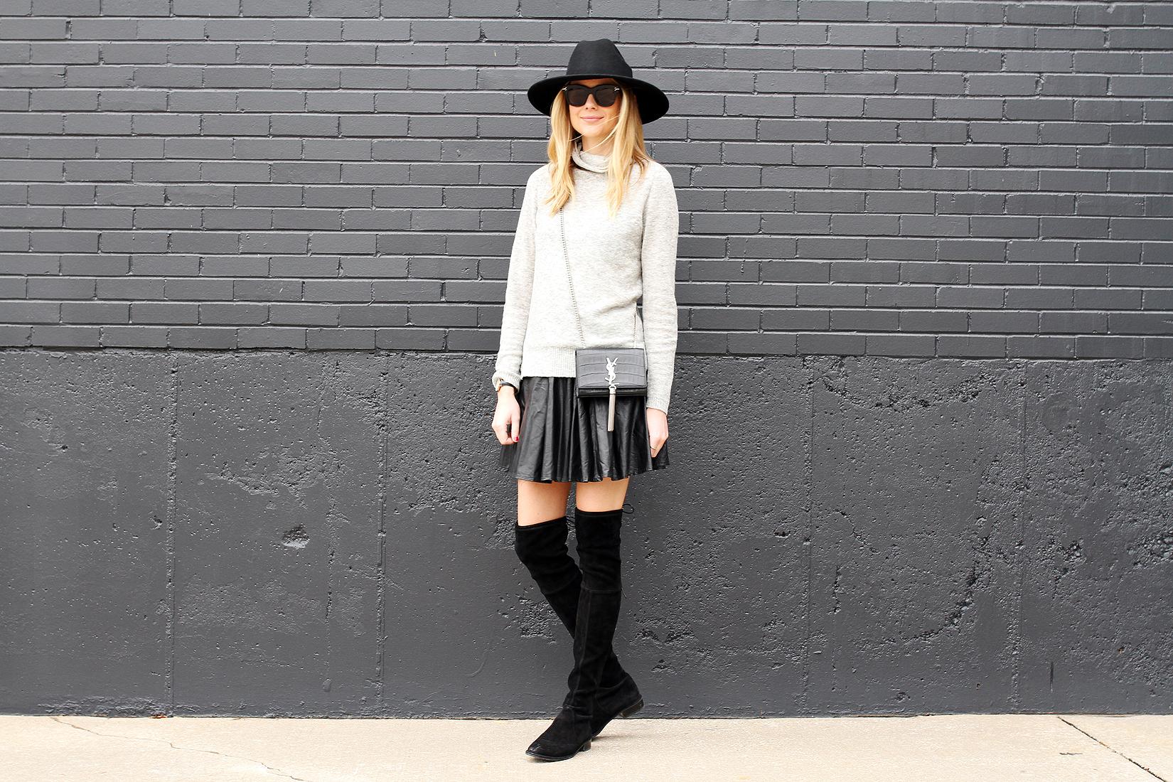 fashion-jackson-grey-sweater-black-pleated-skirt-black-otk-boots-black-wool-hat