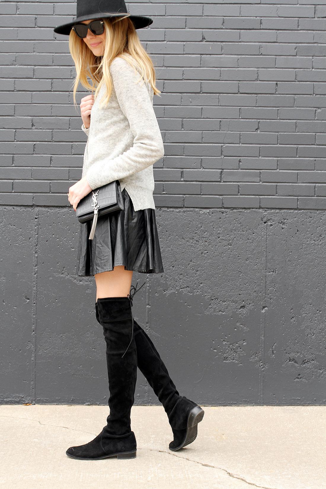 fashion-jackson-grey-sweater-black-pleated-skirt-black-otk-boots-ysl-monogram-crossbody-black-wool-hat