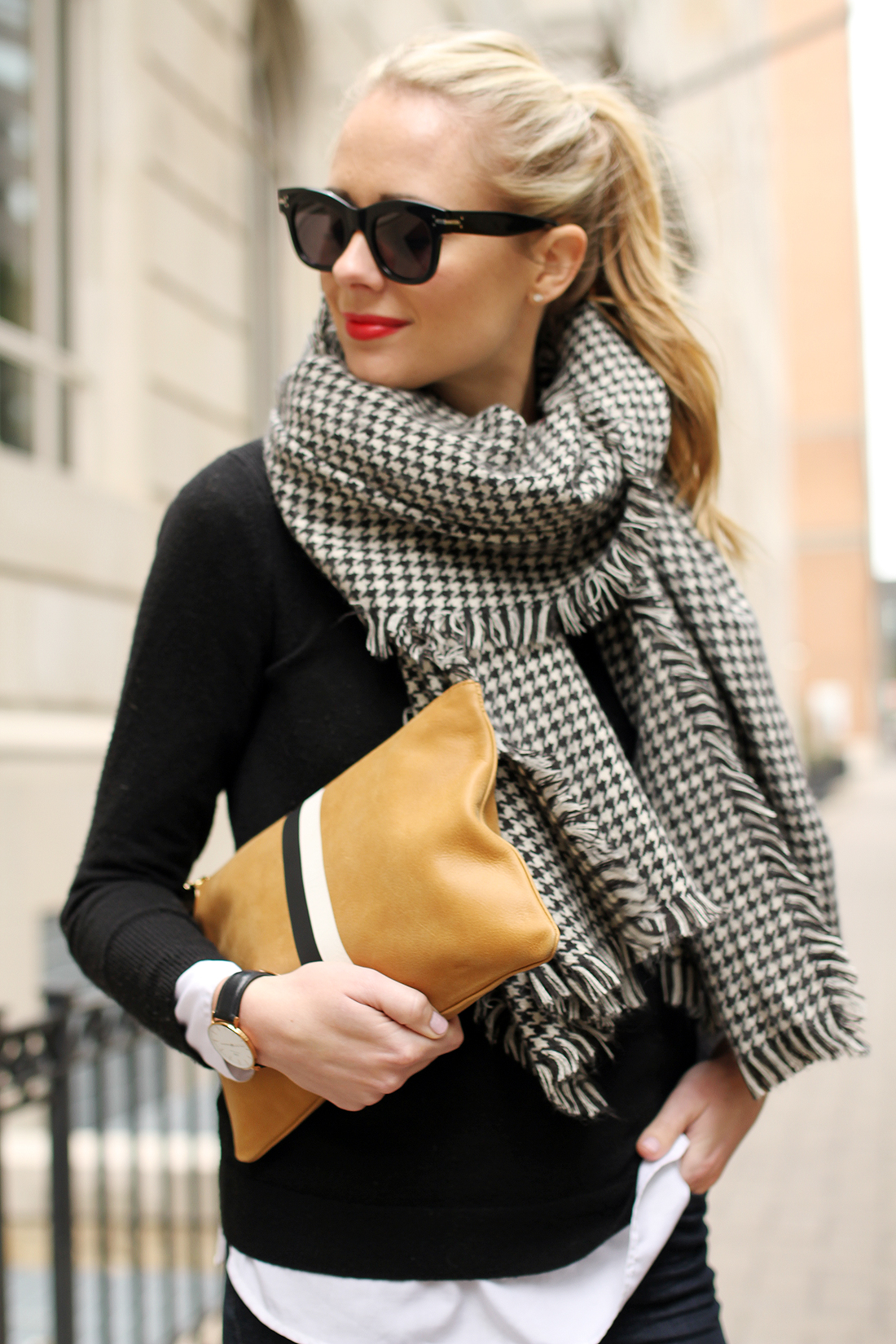 fashion-jackson-houndstooth-scarf-clare-v-clutch-celine-sunglasses-red-lipstick