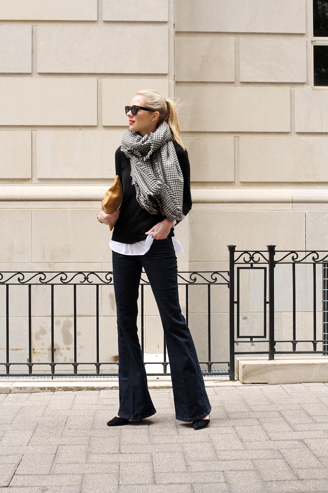 fashion-jackson-houndstooth-scarf-denim-flare-jeans-black-sweater-black-pumps-celine-sunglasses