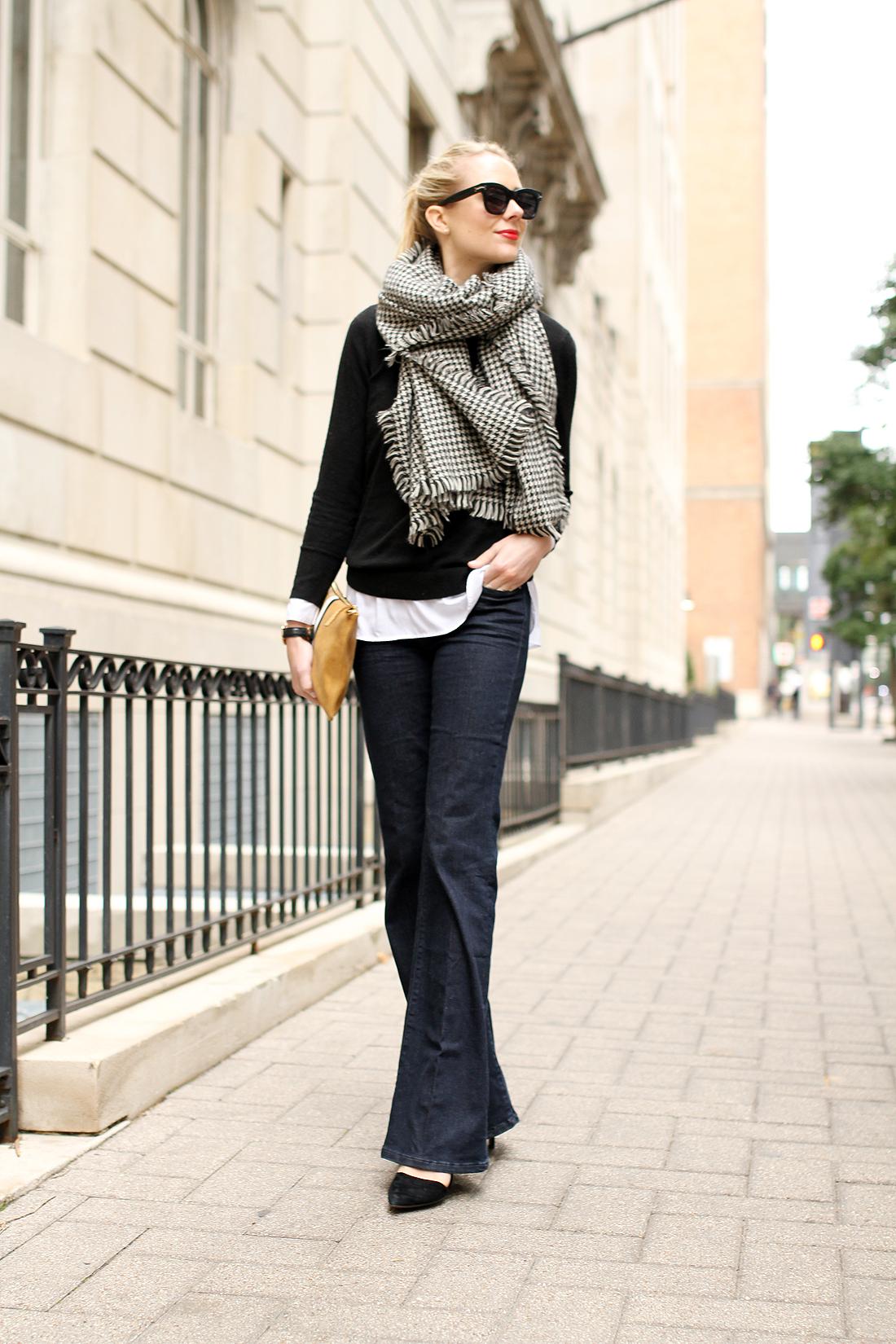 fashion-jackson-houndstooth-scarf-denim-flare-jeans-black-sweater-black-pumps