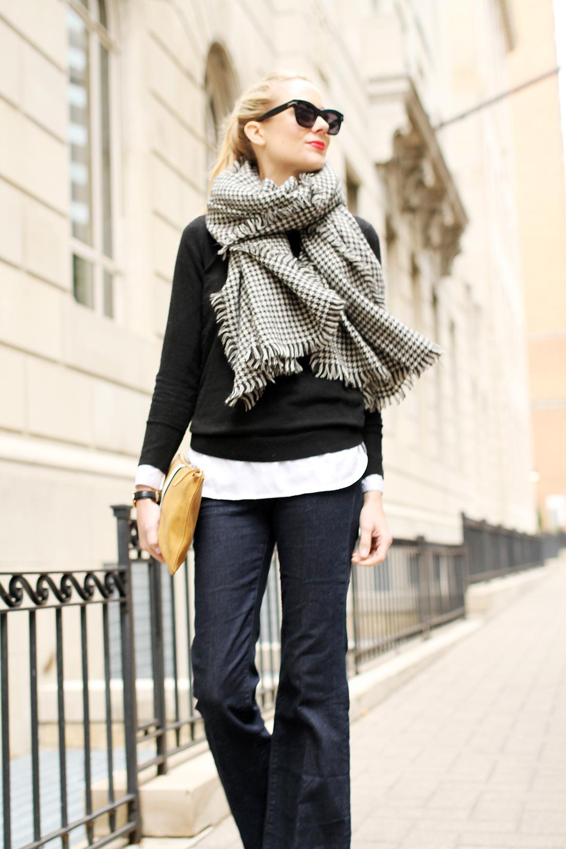 fashion-jackson-houndstooth-scarf-denim-flare-jeans-black-sweater-celine-sunglasses