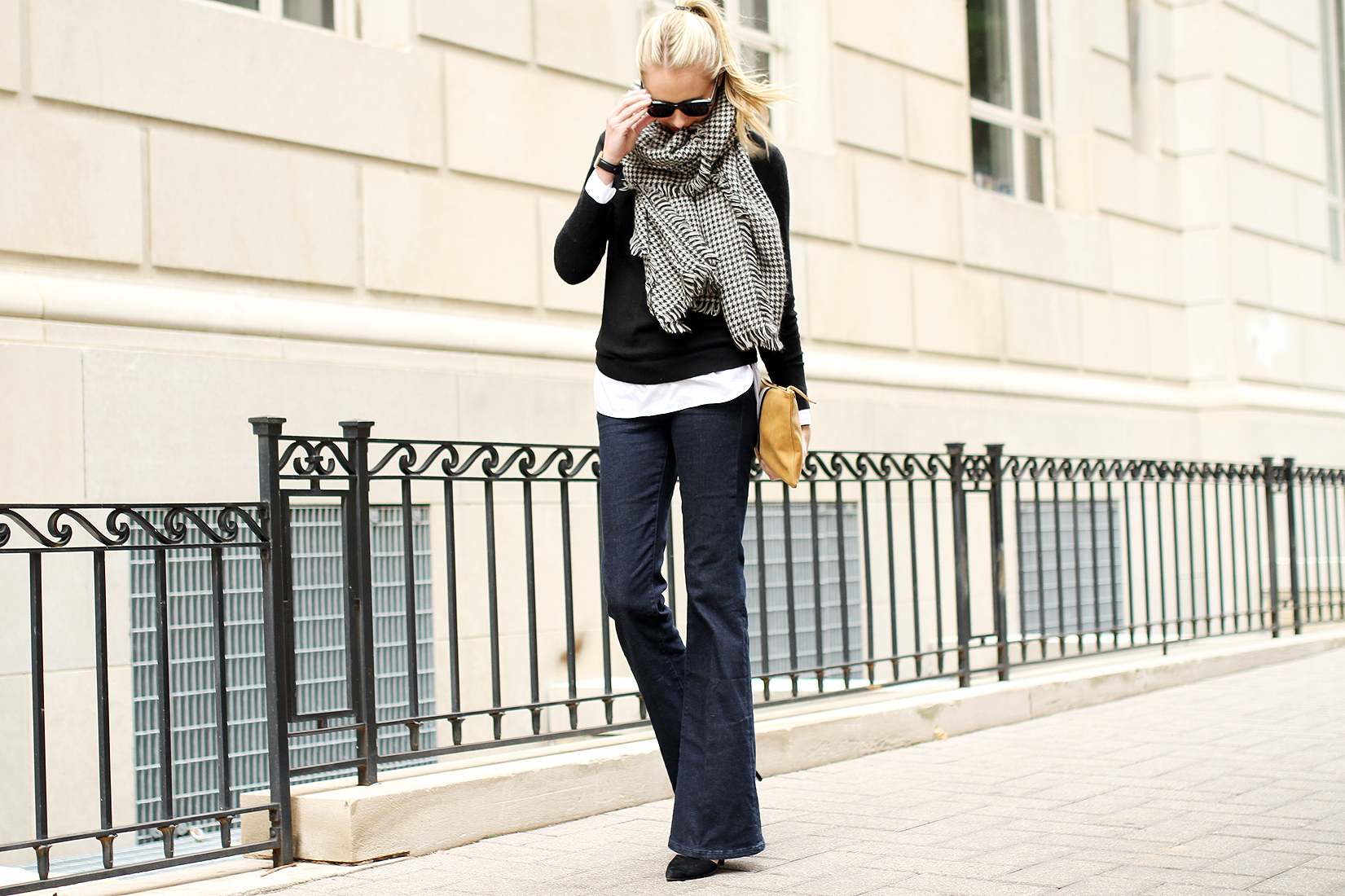 fashion-jackson-houndstooth-scarf-denim-flare-jeans-black-sweater