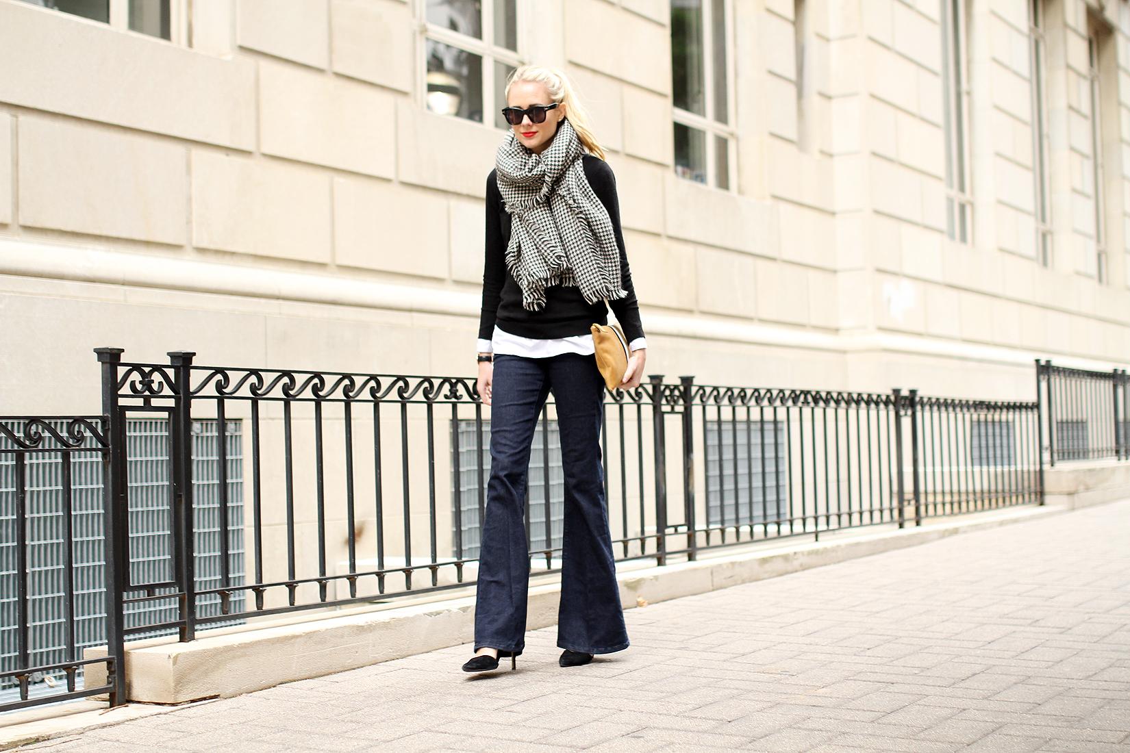 fashion-jackson-houndstooth-scarf-denim-flare-jeans