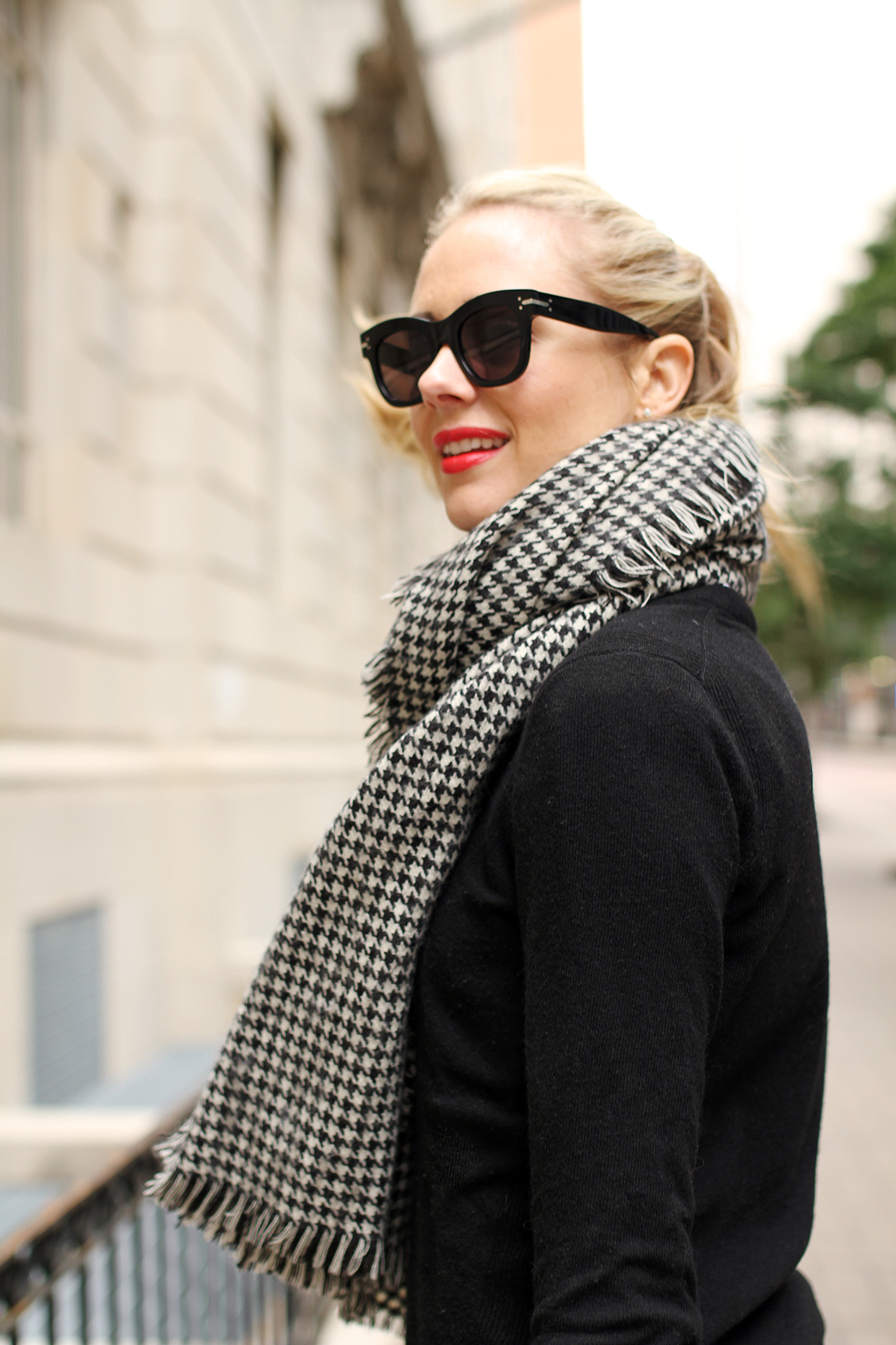 fashion-jackson-houndstooth-scarf-red-lipstick-celine-sunglasses
