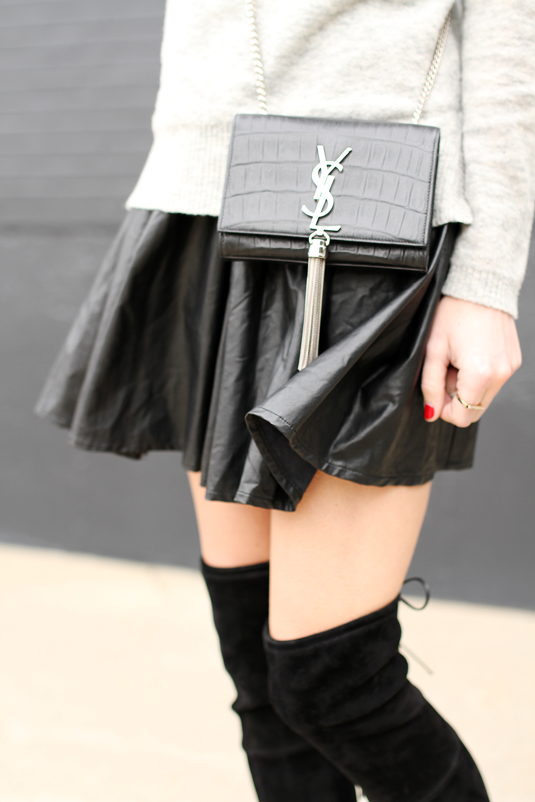 monogrammed leather clutch - FAUX LEATHER PLEATED MINI SKIRT - Fashion Jackson