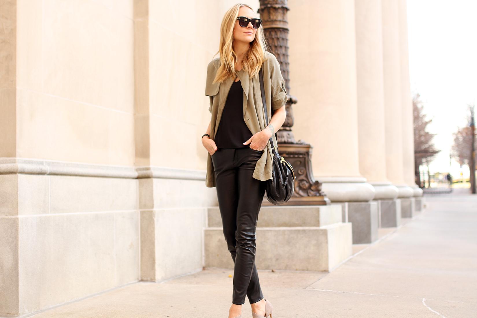 fashion-jackson-banana-republic-drapey-drawstring-jacket-black-faux-leather-pants-celine-sunglasses