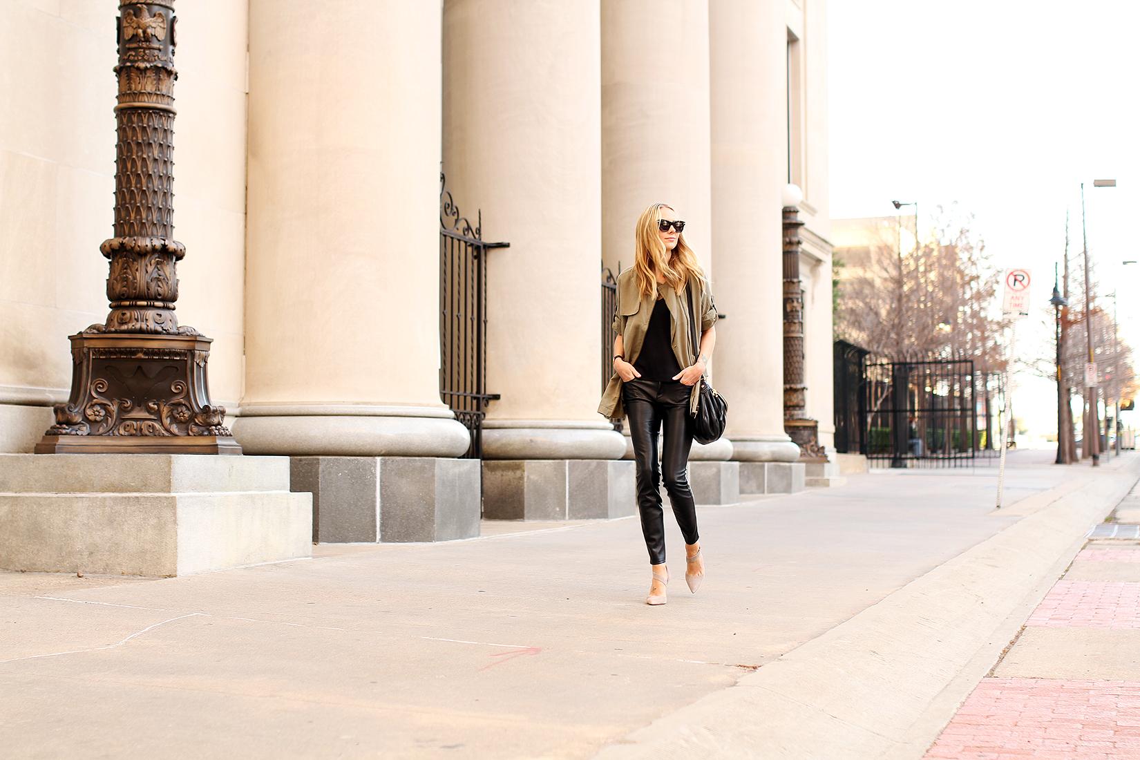 fashion-jackson-banana-republic-drapey-drawstring-jacket-black-faux-leather-pants-vince-camuto-carlotte-pumps-celine-sunglasses