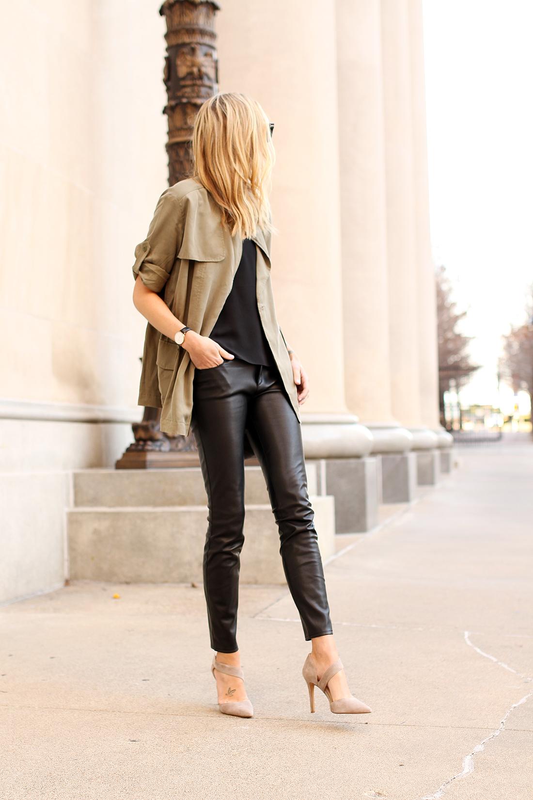 fashion-jackson-banana-republic-drapey-drawstring-jacket-black-faux-leather-pants-vince-camuto-carlotte-pumps-daniel-wellington-watch