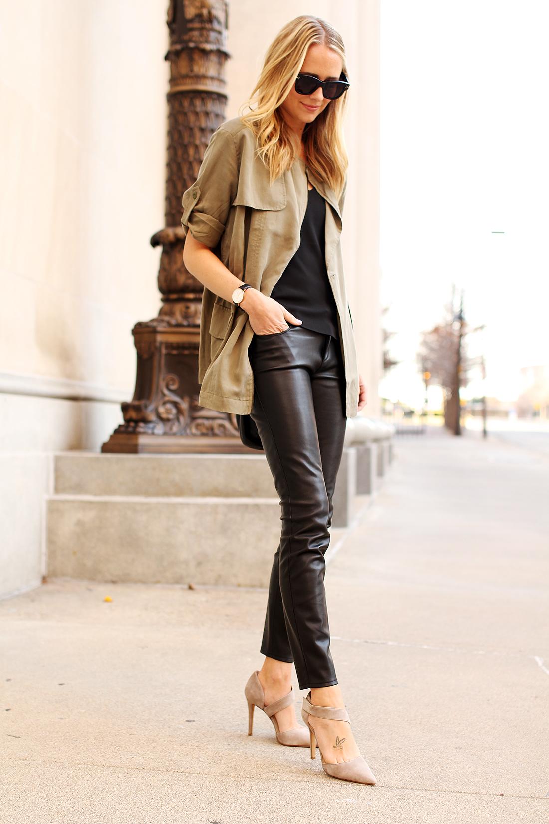 1447bdc565092d UTLITY JACKET & FAUX LEATHER PANTS.  fashion-jackson-banana-republic-drapey-drawstring-jacket-black-