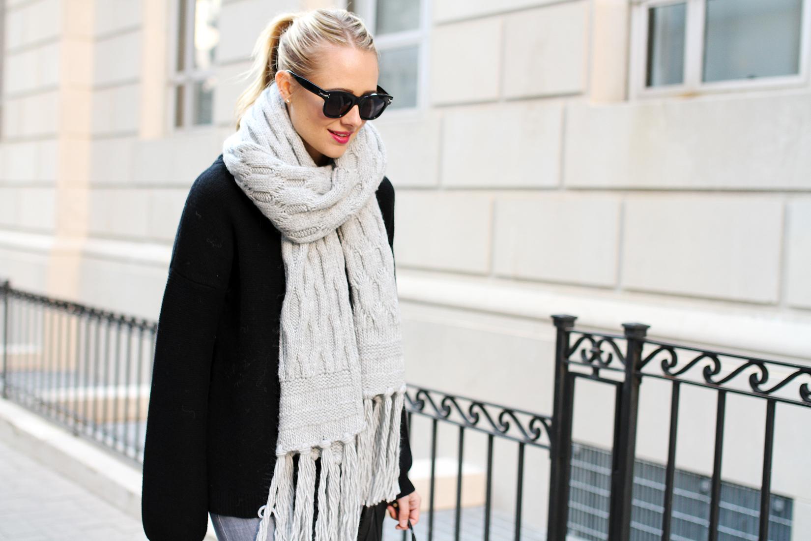 fashion-jackson-banana-republic-grey-fringe-scarf-black-celine-sunglasses-black-oversized-sweater
