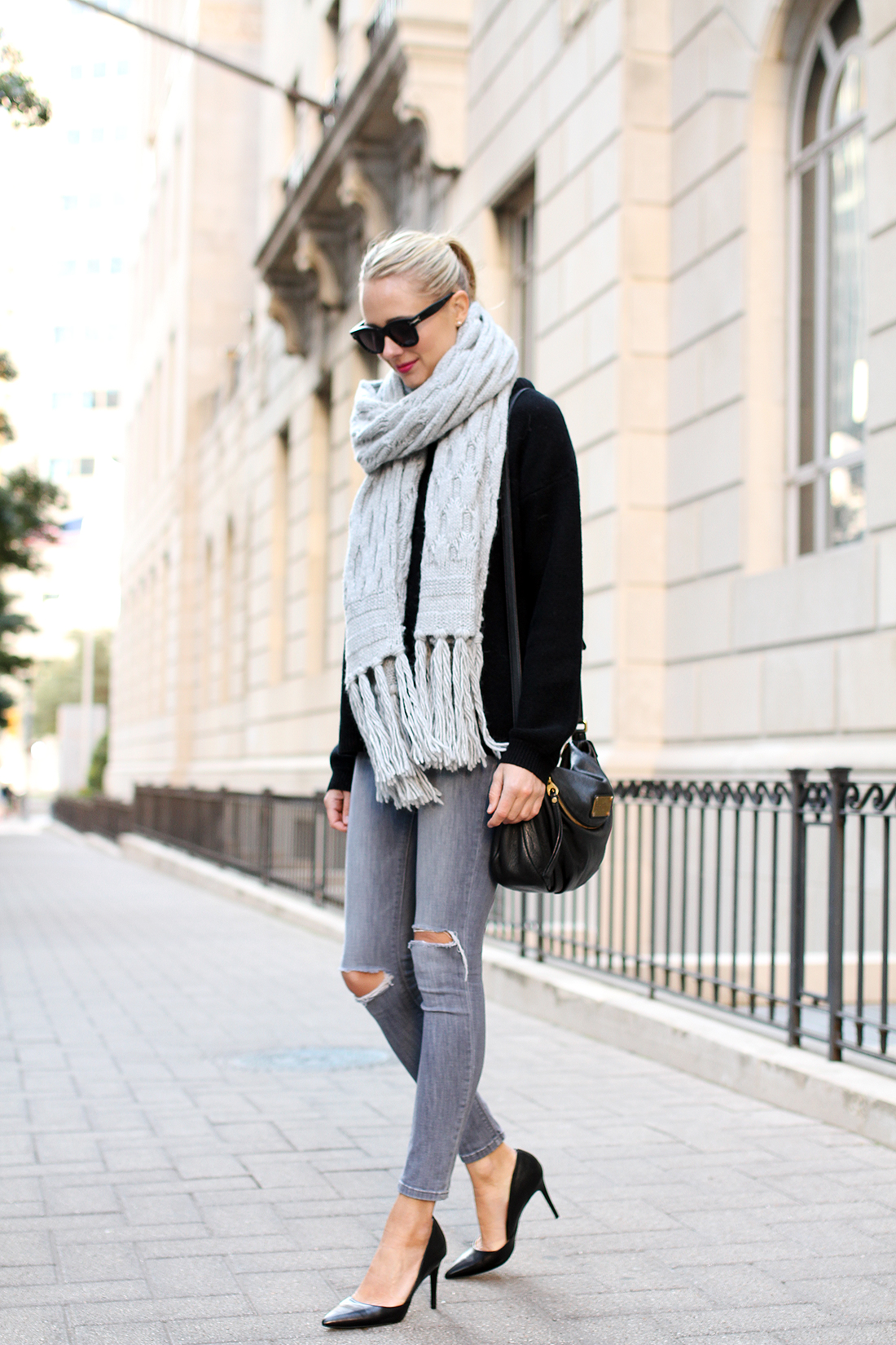 fashion-jackson-banana-republic-grey-fringe-scarf-black-sweater-grey-ripped-skinny-jeans-black-pumps-celine-sunglasses