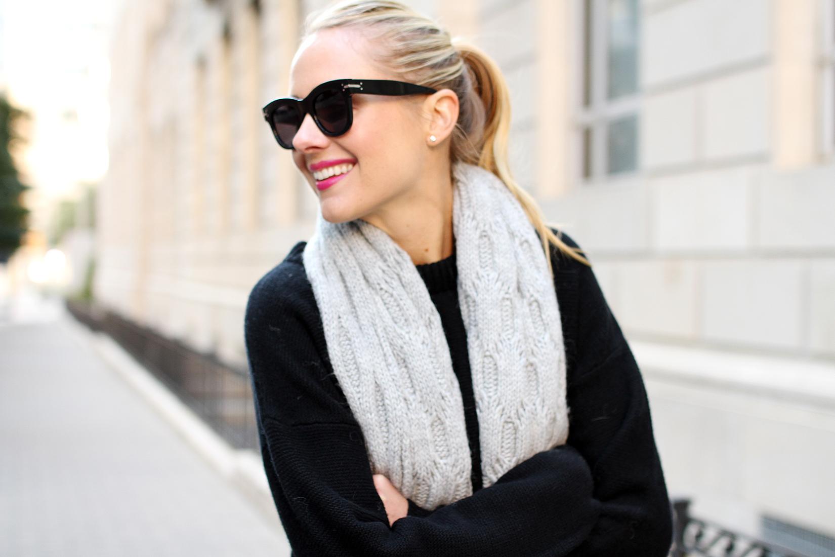 fashion-jackson-black-celine-sunglasses-banana-repubic-grey-fringe-scarf-black-sweater