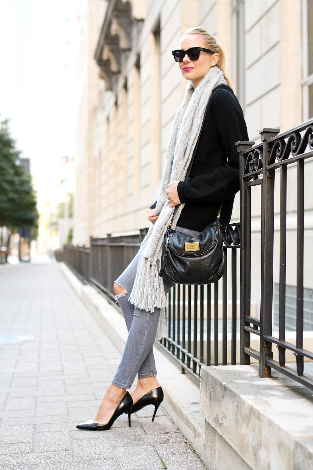 fashion-jackson-black-celine-sunglasses-banana-republic-grey-fringe-scarf-black-oversized-sweater-grey-ripped-skinny-jeans-banana-republic-black-pumps
