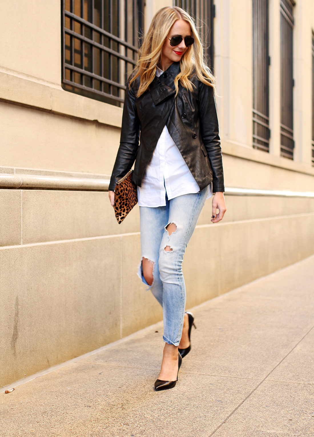 fashion-jackson-black-faux-leather-jacket-ripped-skinny-jeans-leopard-clutch-black-pumps-white-shirt