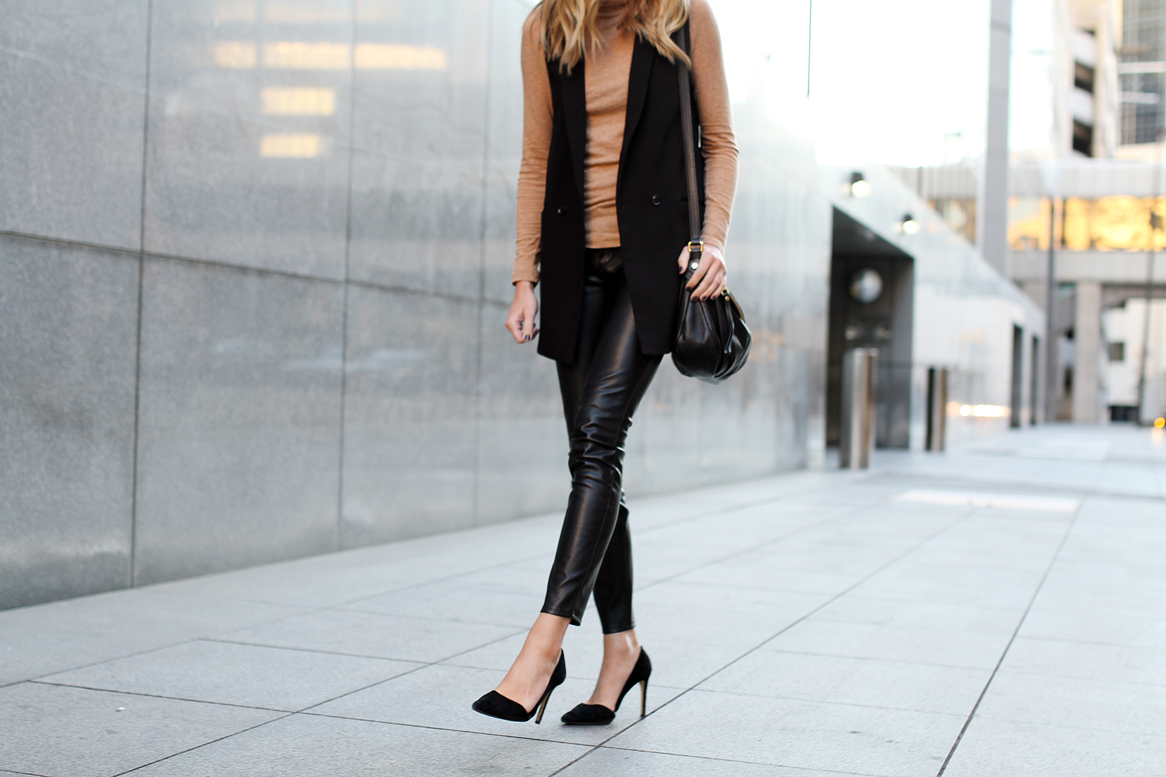 fashion-jackson-black-long-vest-camel-turtleneck-black-faux-leather-skinny-pants-black-suede-pumps
