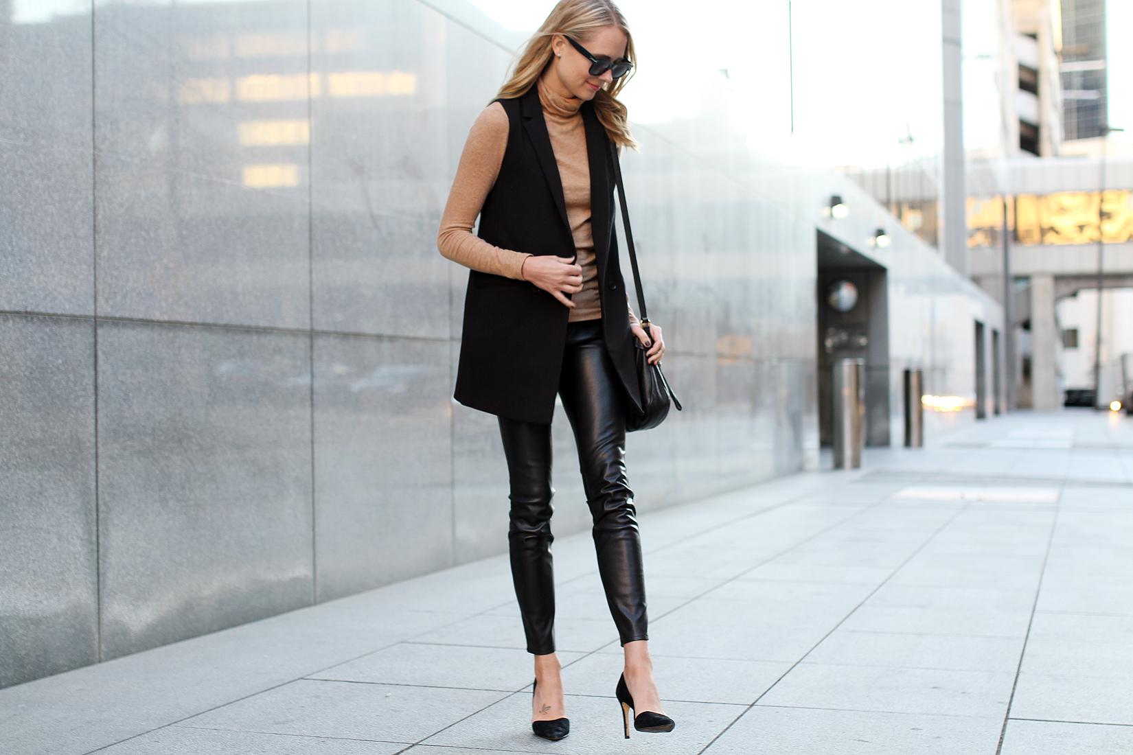 fashion-jackson-camel-turtleneck-black-long-vest-black-faux-leather-skinny-pants-black-suede-pumps