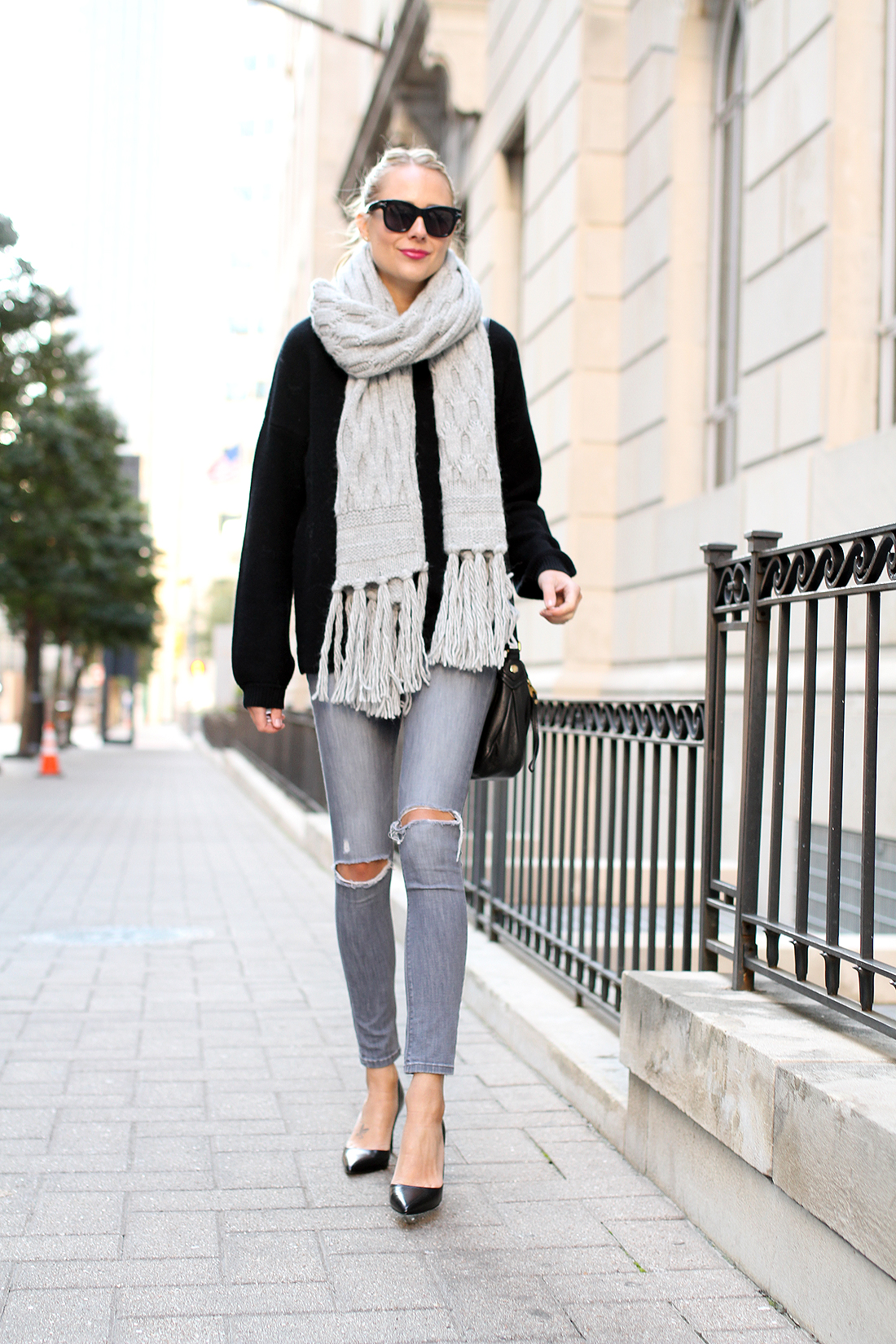 fashion-jackson-celine-sunglasses-banana-republic-grey-fringe-scarf-black-sweater-grey-ripped-skinny-jeans-black-pumps