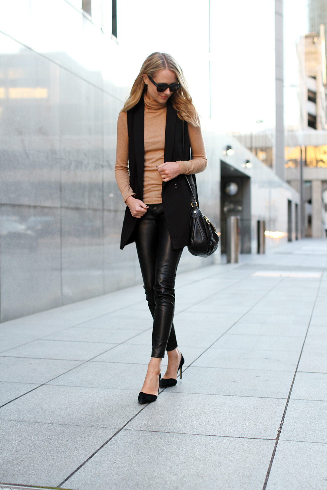 fashion-jackson-celine-sunglasses-camel-turtleneck-black-long-vest-black-faux-leather-skinny-pants-black-suede-pumps