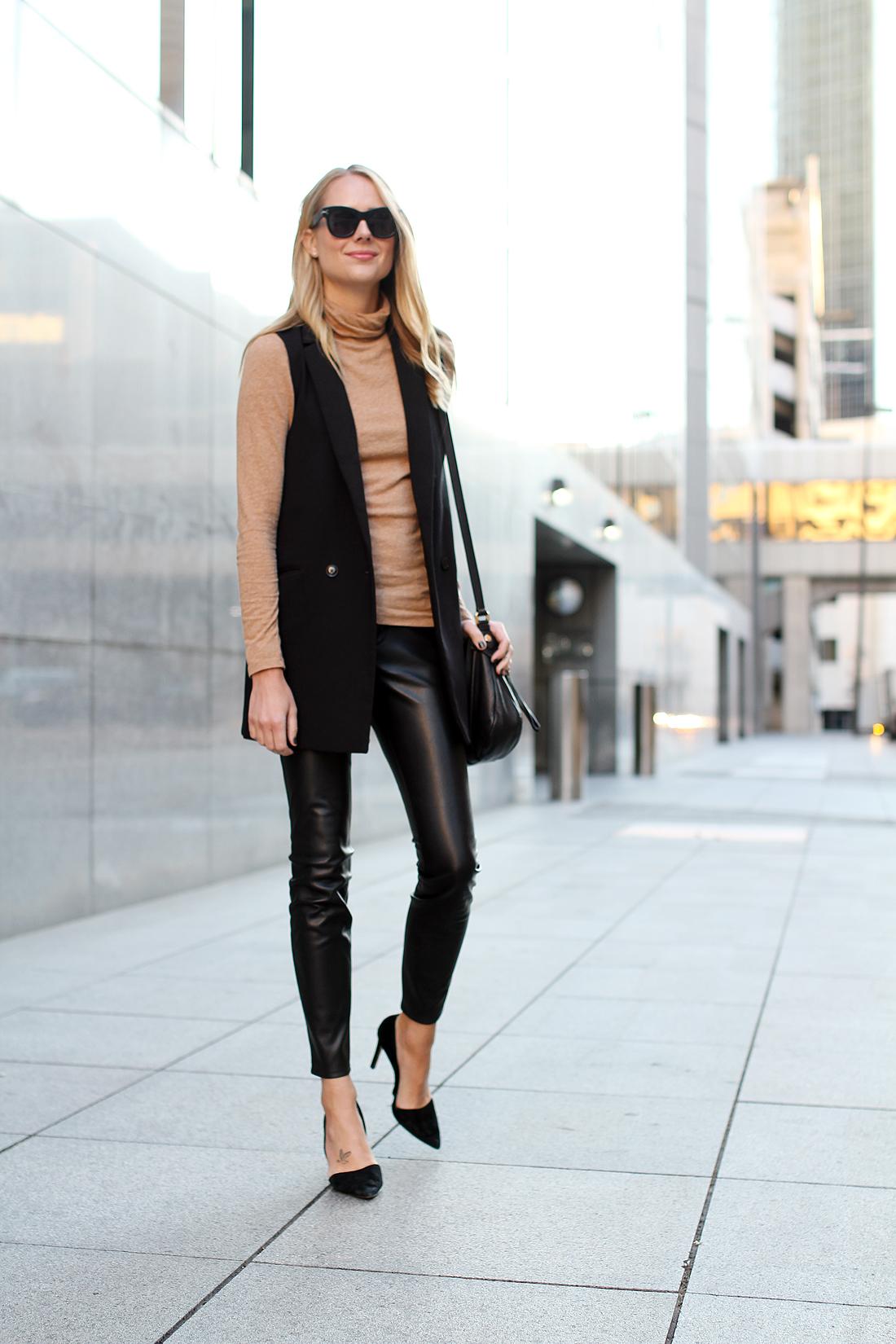 fashion-jackson-celine-sunglasses-madewell-camel-turtleneck-black-long-vest-black-faux-leather-skinny-pants-black-suede-pumps