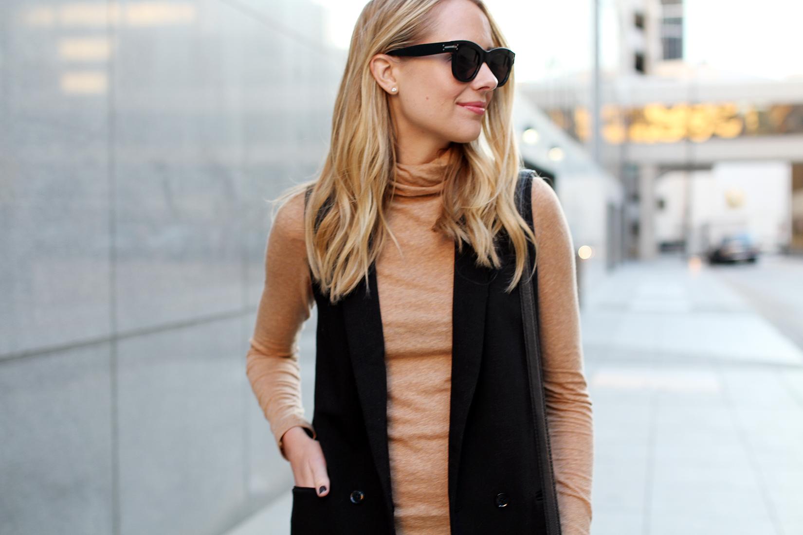 fashion-jackson-celine-sunglasses-madewell-camel-turtleneck-top-black-long-vest