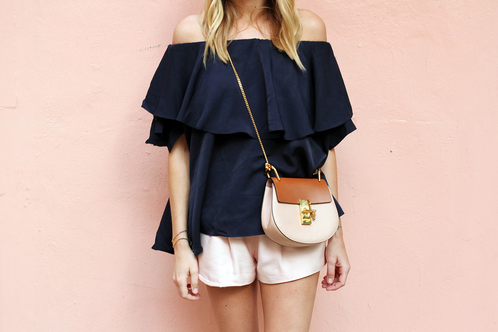 fashion-jackson-chloe-drew-colorblock-handbag-mlm-label-maison-off-the-shoulder-top-pink-shorts