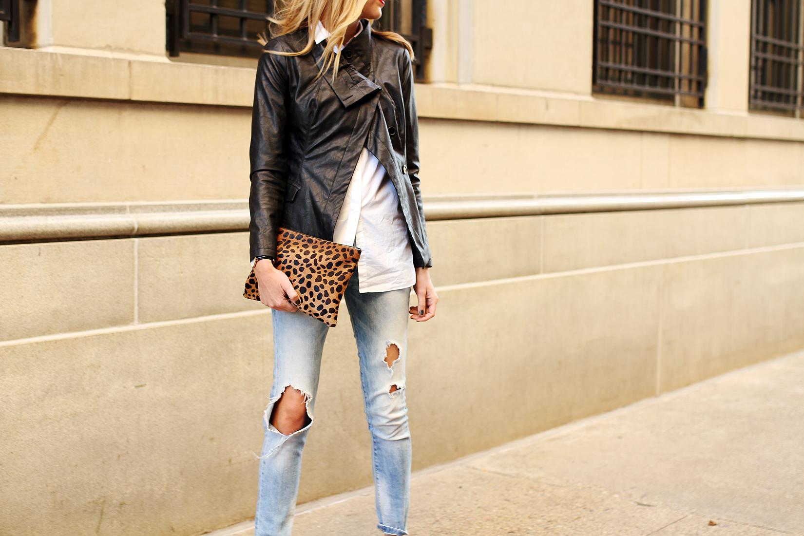 fashion-jackson-denim-ripped-skinny-jeans-black-faux-leather-jacket-leopard-clutch