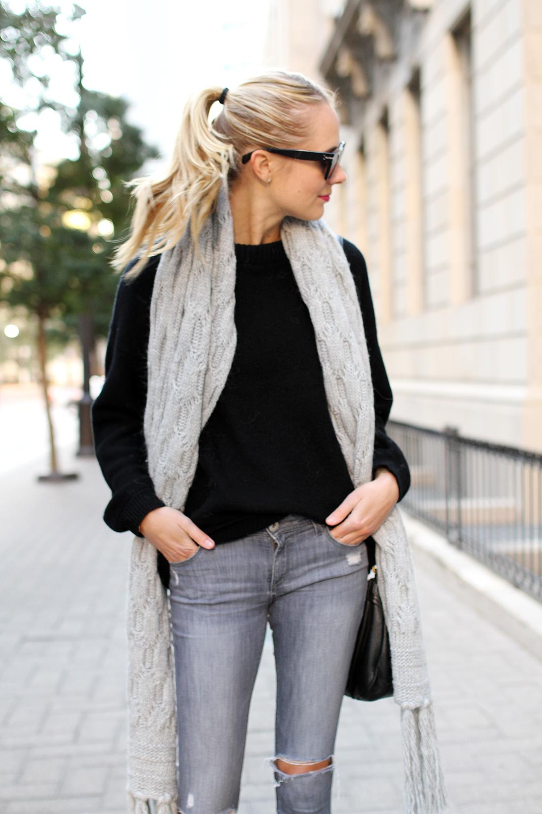 fashion-jackson-grey-ripped-skinny-jeans-black-oversized-sweater-banana-republic-grey-fringe-sweater
