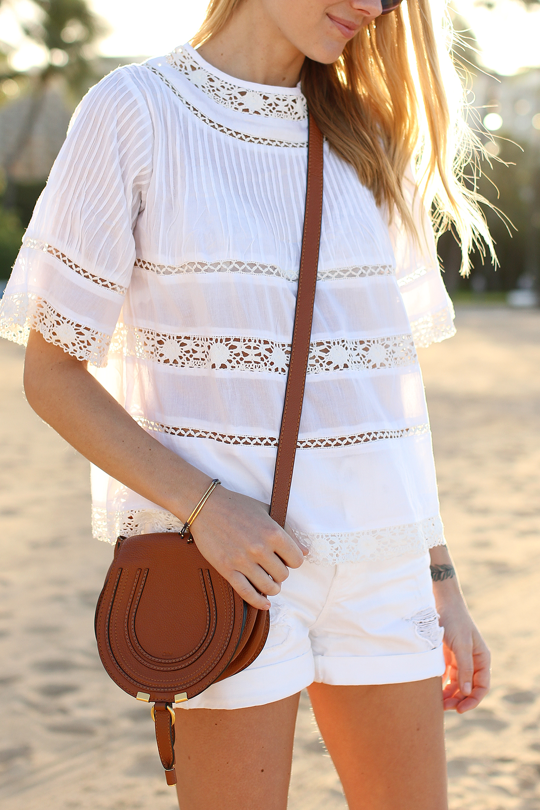 fashion-jackson-love-sam-white-lace-top-white-denim-shorts-chloe-marcie-small-crossbody