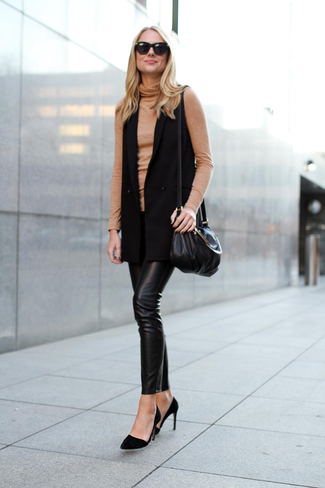 fashion-jackson-madewell-camel-turtleneck-black-long-vest-black-faux-leather-skinny-pants-black-suede-pumps-marc-by-marc-jacbos-natasha-q-handbag-celine-sunglasses