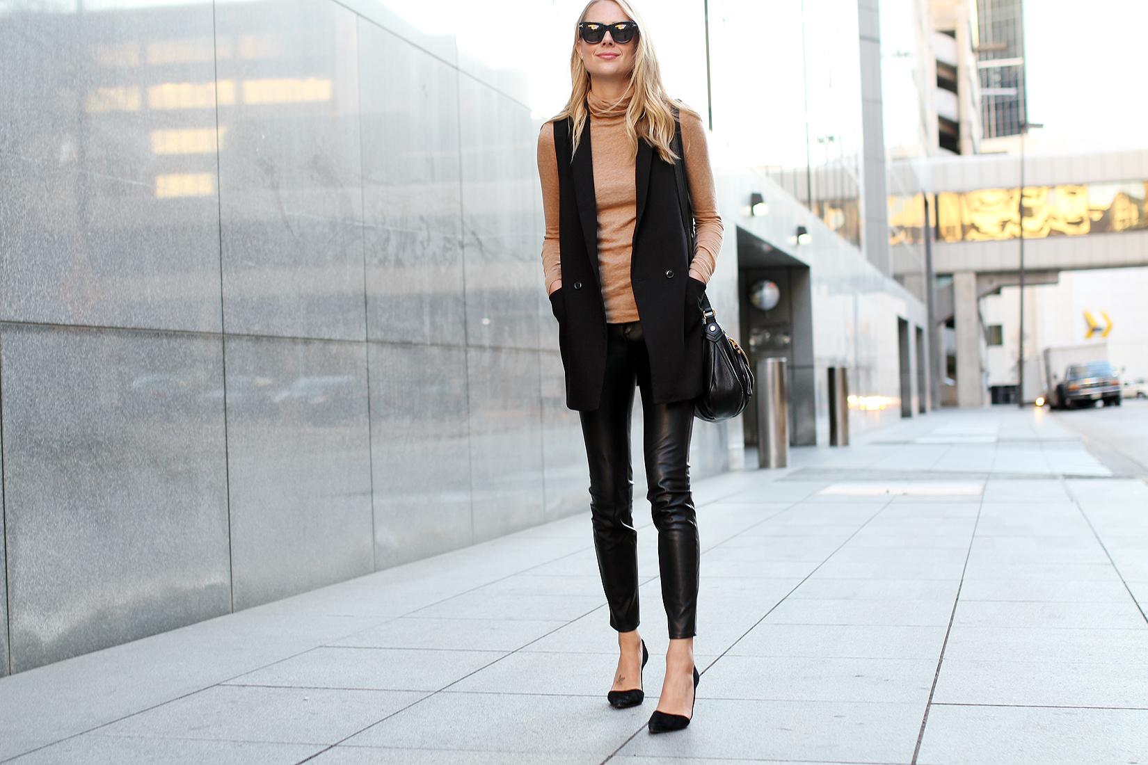 fashion-jackson-madewell-camel-turtleneck-black-long-vest-black-faux-leather-skinny-pants-black-suede-pumps