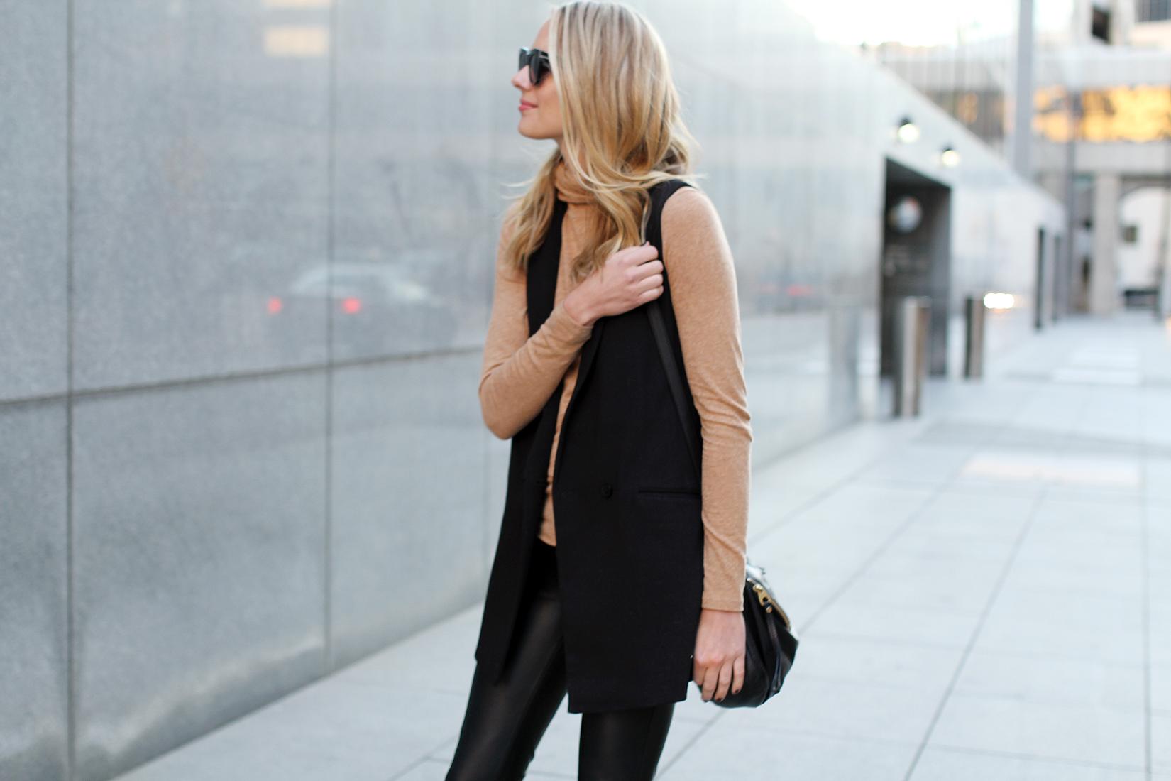fashion-jackson-madewell-camel-turtleneck-black-long-vest-black-faux-leather-skinny-pants