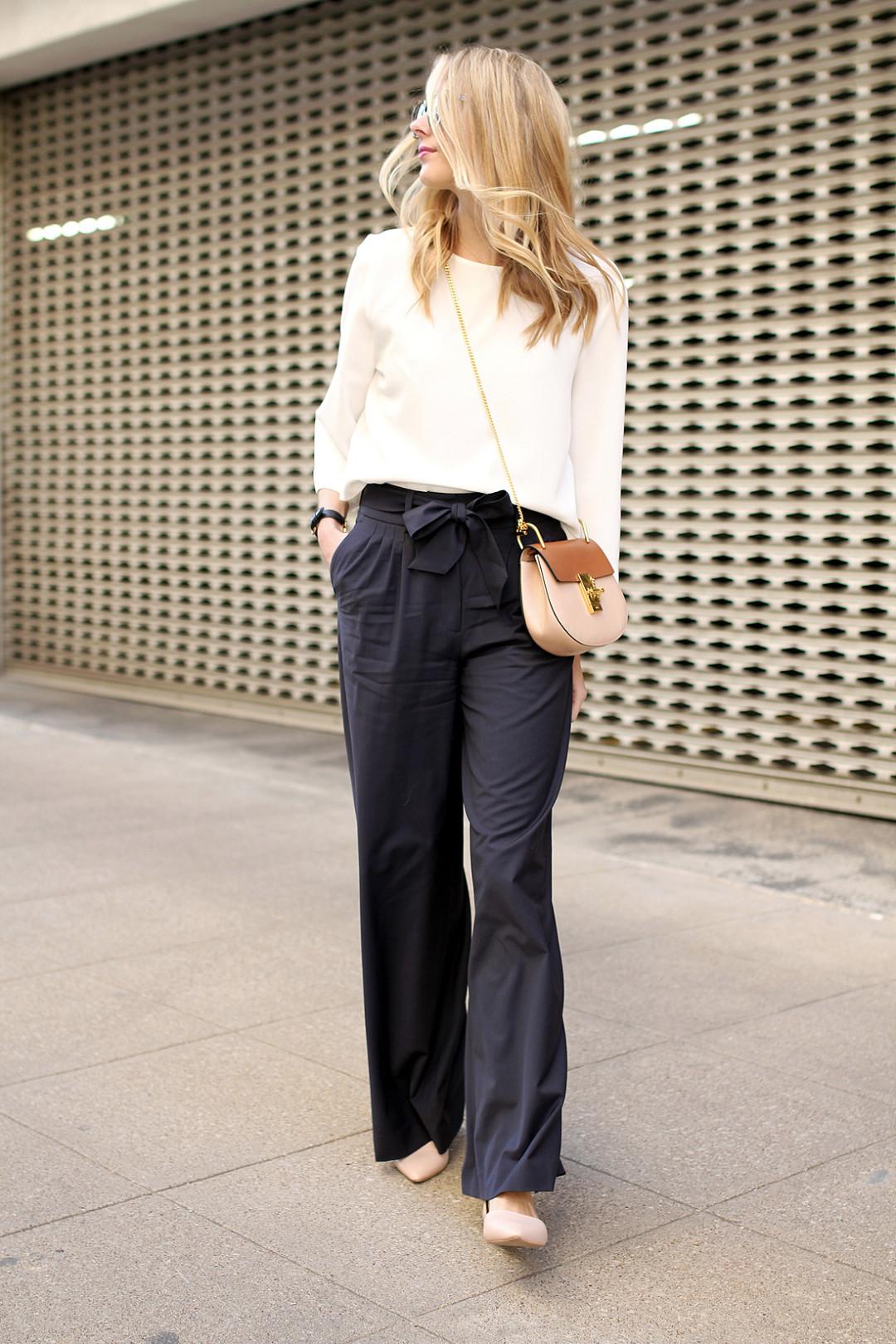 navy wide leg pants Blogger  
