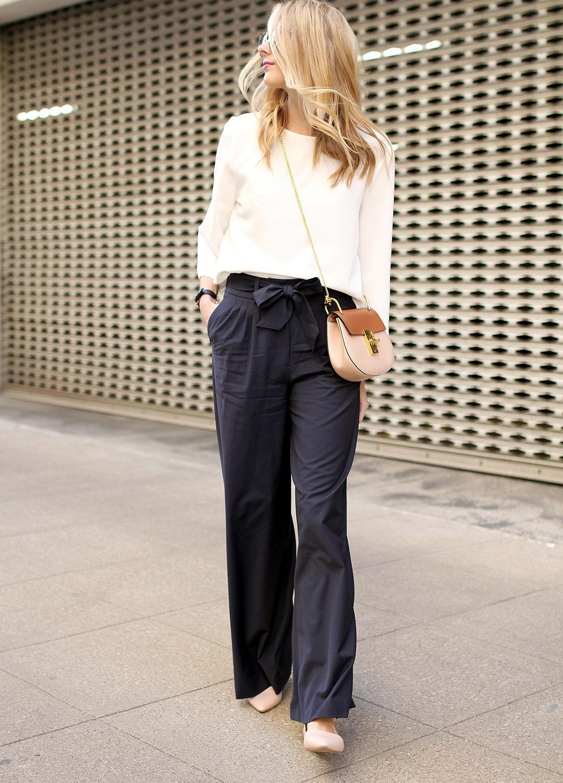 fashion-jackson-chloe-drew-bag-navy-wide-leg-pants-olivia-palermo-pleat-front-pants-white-blouse-nude-flats