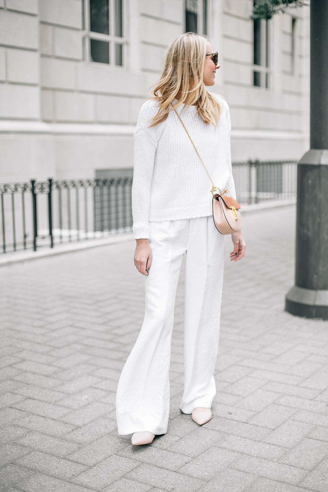 fashion-jackson-chloe-drew-handbag-pink-flats-white-sweater-white-wide-leg-pants