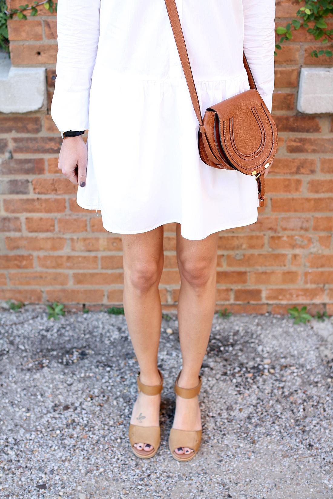 fashion-jackson-chloe-marcie-tan-crossbody-sorel-joanie-sandals-white-shirtdress