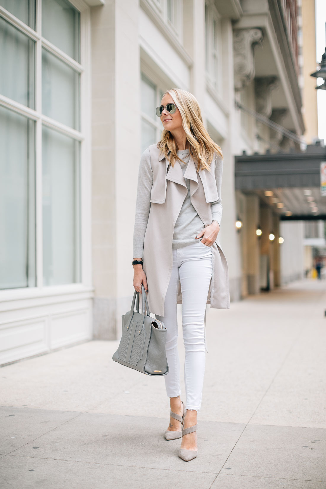 fashion-jackson-club-monaco-trench-vest-white-skinny-jeans-grey-sweater-grey-tote