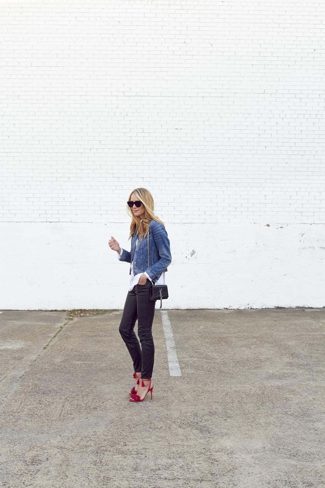 fashion-jackson-denim-jacket-red-fringe-heels-black-faux-leather-pants