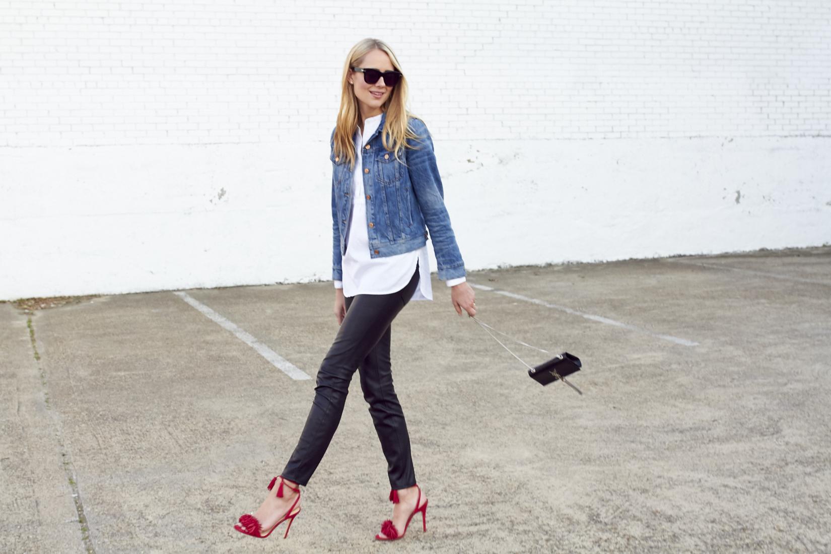 fashion-jackson-jcrew-denim-jacket-black-faux-leather-pants-red-fringe-heels