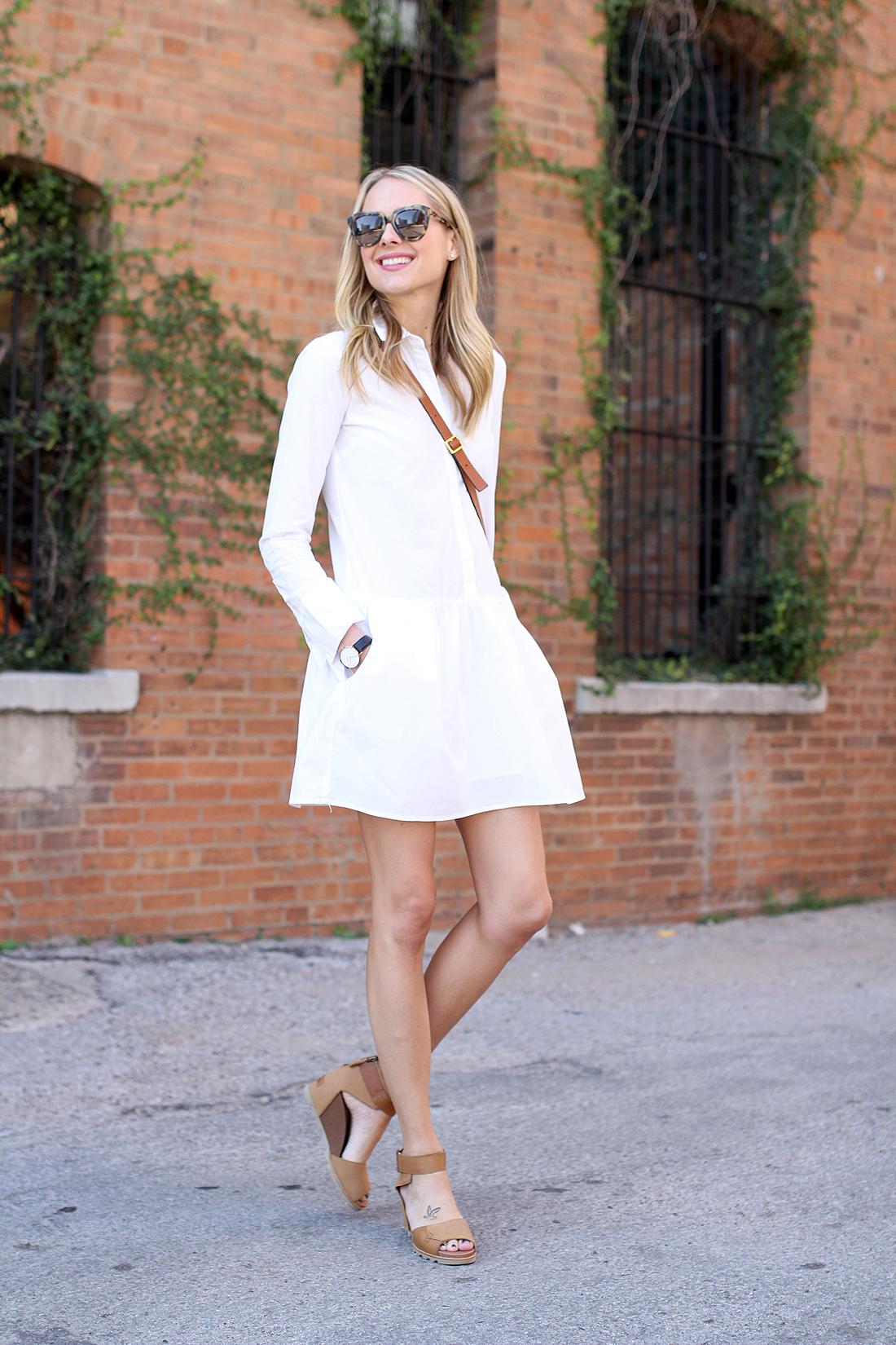 fashion-jackson-karen-walker-sunglasses-splendid-damsel-white-shirtdress-sorel-joanine-sandals