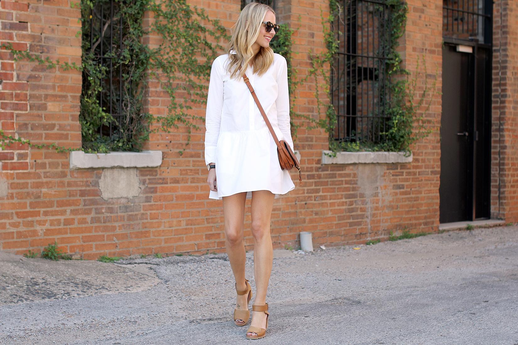 fashion-jackson-sorel-joanie-sandals-splendid-damsel-white-shirt-dress-karen-walker-sunglasses-chloe-marcie-tan-crossbody