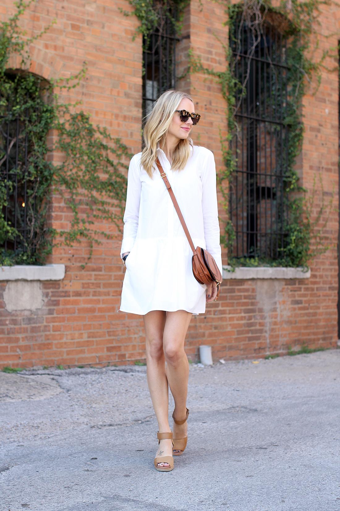 fashion-jackson-splendid-damsel-white-shirt-dress-karen-walker-sunglasses-sorel-joanie-sandals-chloe-marcie-tan-crossbody