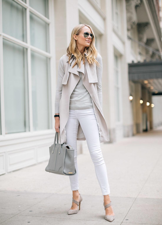 fashion-jackson-white-skinny-jeans-club-monaco-trench-vest-grey-sweater-grey-tote
