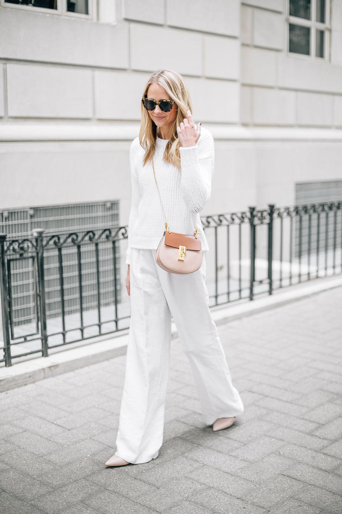 fashion-jackson-white-sweater-white-wide-leg-pants-chloe-drew-handbag-pink-flats-tortoise-sunglasses