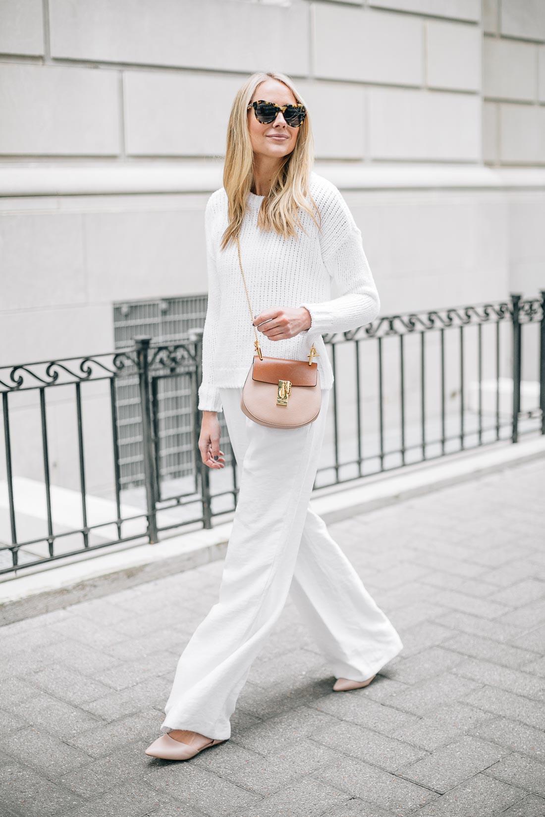 fashion-jackson-white-sweater-white-wide-leg-pants-chloe-drew-handbag-pink-flats