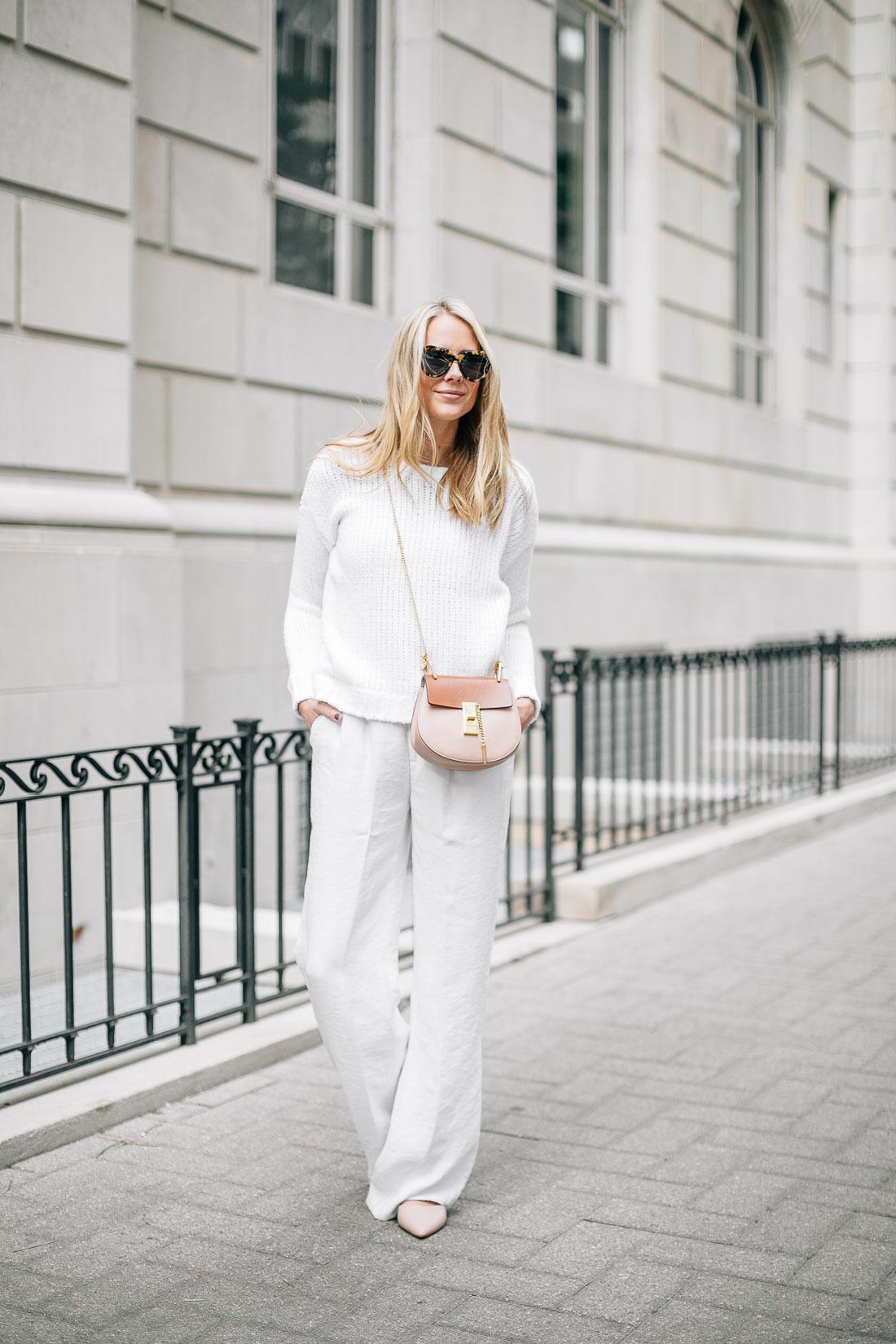 fashion-jackson-white-sweater-white-wide-leg-pants-chloe-drew-handbag
