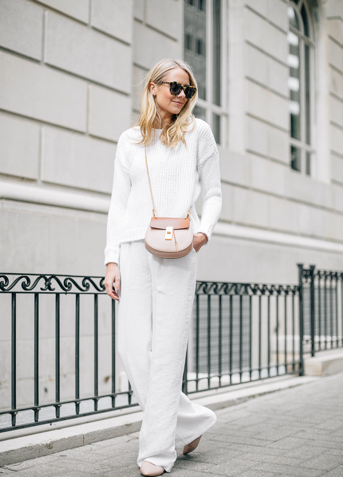 fashion-jackson-white-sweater-white-wide-leg-pants-pink-flats-chloe-drew-handbag