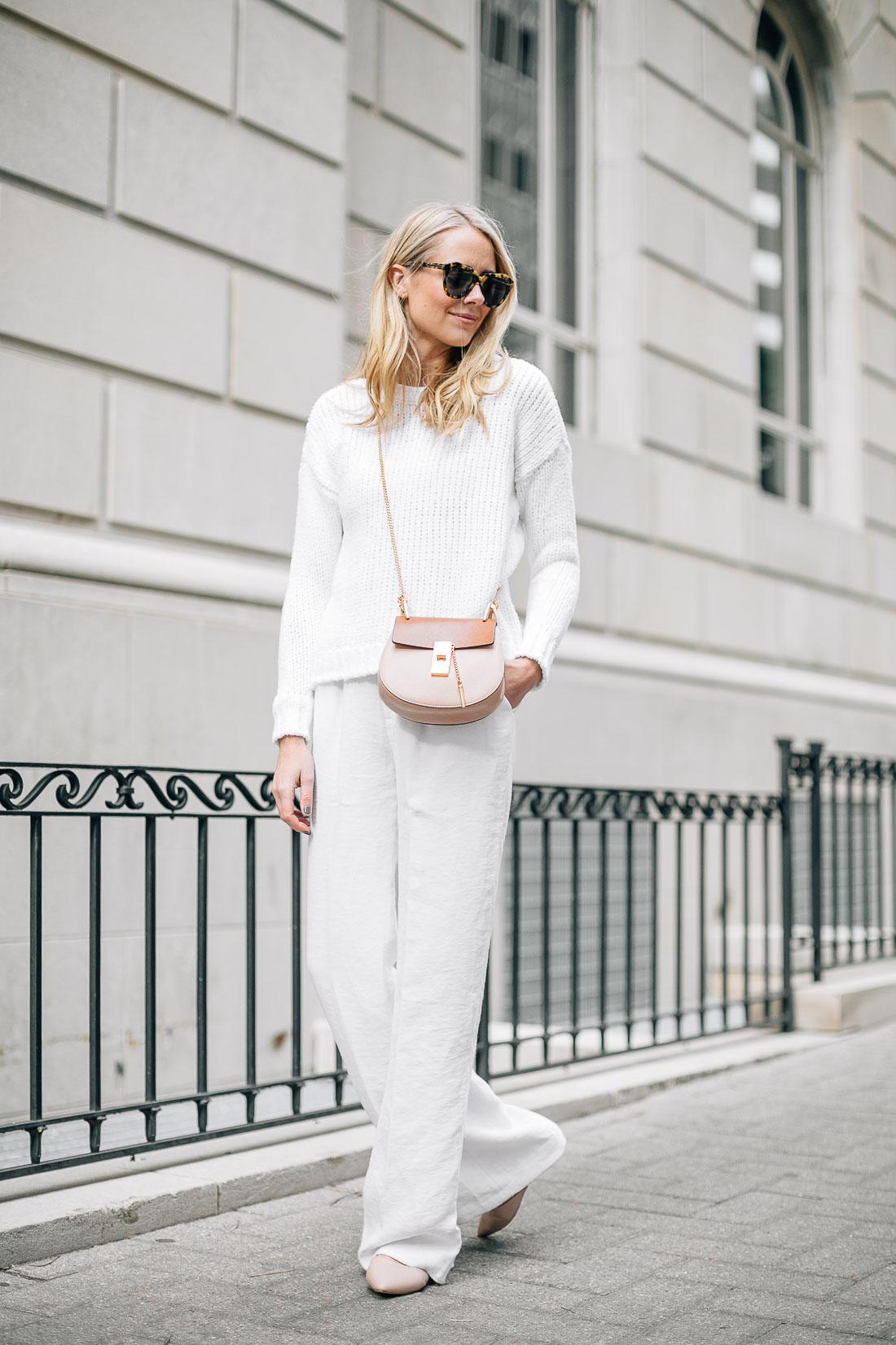 fashion-jackson-white-sweater-white-wide-leg-pants-pink-flats-chloe-drew-handbag