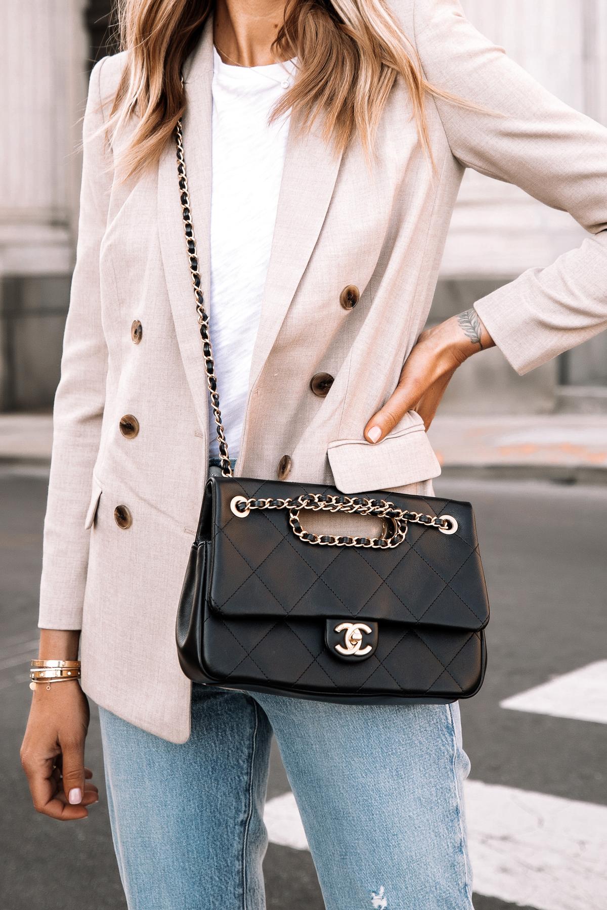 Fashion Jackson Wearing Express Beige Blazer Outfit White Tshirt Jeans Black Chain Chanel Handbag 1