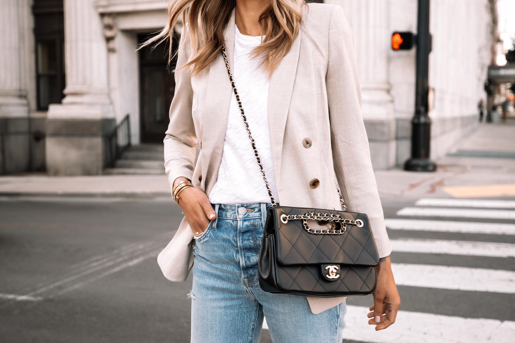 Fashion Jackson Wearing Express Beige Blazer Outfit White Tshirt Jeans Black Chain Chanel Handbag